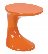 Ave Six SLKST-32 Slick Side Table with High Gloss in Orange Finish