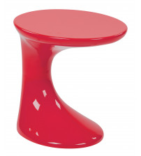 Ave Six SLKST-9 Slick Side Table with High Gloss in Red Finish
