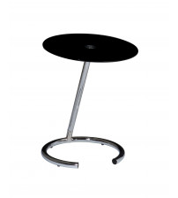 Ave Six Yield Telephone Table Chrome / Black Glass YLD04