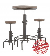 Lumisource B-HYDRA3 ANBN Hydra Industrial Bar Set in Antique Metal and Brown Wood-Pressed Grain Bamboo