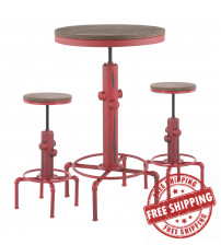 Lumisource B-HYDRA3 RBN Hydra Industrial Bar Set in Vintage Red Metal and Brown Wood-Pressed Grain Bamboo