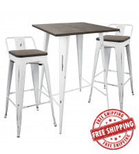 Lumisource B-LBOR3 VW+E Oregon 3-Piece Industrial Low Back Set in Vintage White and Espresso