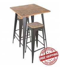 Lumisource B-OR3PC BN+GY Oregon 3-Piece Industrial Set in Grey and Brown