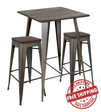 Lumisource B-OR3PC DKE+AN Oregon 3-Piece Industrial Set in Antique and Espresso