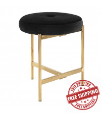 Lumisource B17-CHLOE AU+BK Chloe Contemporary Vanity Stool in Gold Metal and Black Velvet