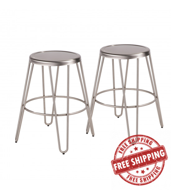 Lumisource B24-AVRMTL SS2 Avery Industrial Metal Counter Stool in Brushed Stainless Steel - Set of 2