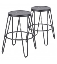 Lumisource B24-AVRMTL VBK2 Avery Industrial Metal Counter Stool in Vintage Black - Set of 2