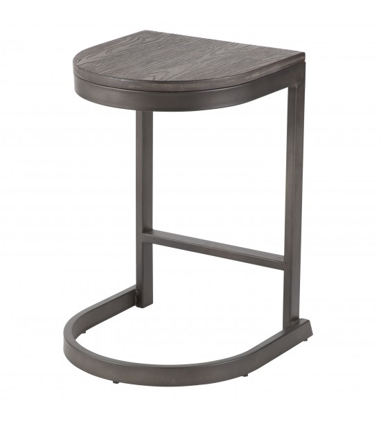 Lumisource B24-INDEM AN+E2 Industrial Demi Counter Stool in Antique and Espresso Wood-Pressed Grain Bamboo - Set of 2