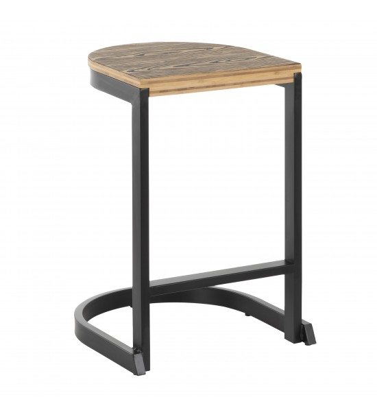Lumisource B24-INDEM BKBN2 Industrial Demi Counter Stool in Black and Wood-Pressed Grain Bamboo - Set of 2