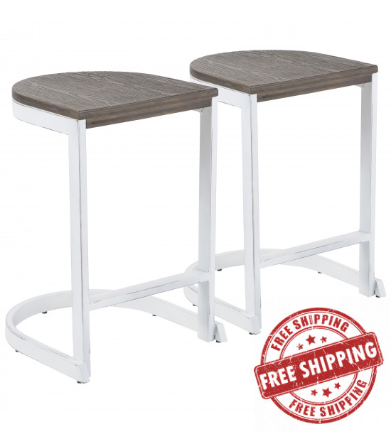 Lumisource B24-INDEM VW+E2 Industrial Demi Counter Stool in Vintage White and Espresso Wood-Pressed Grain Bamboo - Set of 2