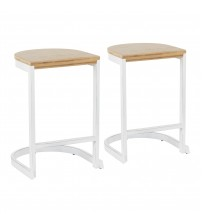 Lumisource B24-INDEM VW+W2 Industrial Demi Counter Stool in Vintage White and White Washed Wood-Pressed Grain Bamboo - Set of 2