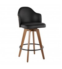 Lumisource B26-AHOY WL+BK Ahoy Mid-Century Counter Stool in Walnut and Black Faux Leather