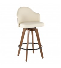 Lumisource B26-AHOY WL+CR Ahoy Mid-Century Counter Stool in Walnut and Cream Faux Leather