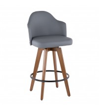 Lumisource B26-AHOY WL+GY Ahoy Mid-Century Counter Stool in Walnut and Grey Faux Leather