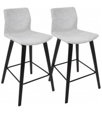 Lumisource B26-CABO E+LGY2 Cabo Mid-Century Modern Counter Stool in Espresso and Light Grey Fabric - Set of 2