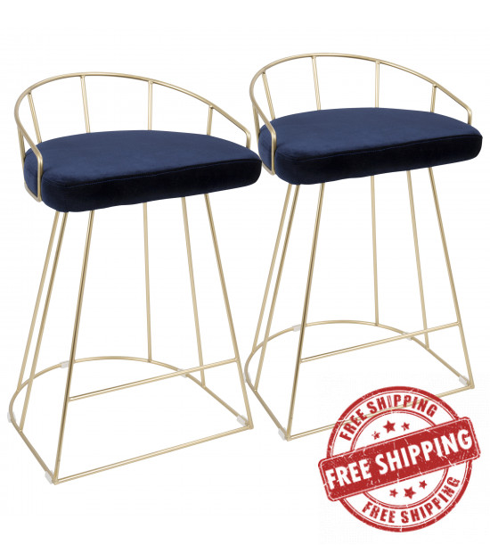 Lumisource B26-CNRY AU+BU2 Canary Contemporary-Glam Counter Stool in Gold with Blue Velvet - Set of 2