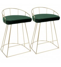 Lumisource B26-CNRY AU+GN2 Canary Contemporary-Glam Counter Stool in Gold with Green Velvet - Set of 2