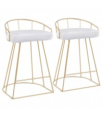 Lumisource B26-CNRY AU+VW2 Canary Contemporary Counter Stool in Gold with White Velvet Fabric - Set of 2