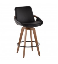 Lumisource B26-COSMO WL+BK Cosmo Mid-Century Counter Stool in Walnut and Black Faux Leather
