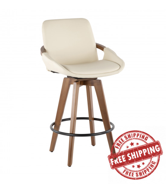 Lumisource B26-COSMO WL+CR Cosmo Mid-Century Counter Stool in Walnut and Cream Faux Leather