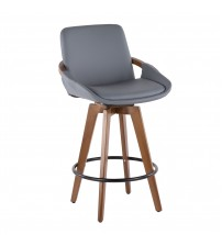 Lumisource B26-COSMO WL+GY Cosmo Mid-Century Counter Stool in Walnut and Grey Faux Leather
