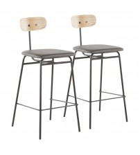Lumisource B26-ELIO BK+GY2 Elio Contemporary Counter Stool in Black Metal, Grey Faux Leather and Natural Wood - Set of 2