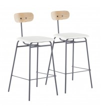 Lumisource B26-ELIO GY+W2 Elio Contemporary Counter Stool in Grey Metal, White Faux Leather and Natural Wood - Set of 2