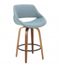 Lumisource B26-FBCO WL+BU Fabrico Mid-Century Modern Counter Stool in Walnut and Blue Noise Fabric