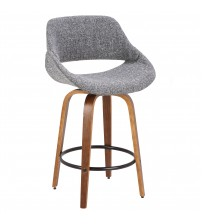 Lumisource B26-FBCO WL+GY Fabrico Mid-Century Modern Counter Stool in Walnut and Grey Noise Fabric