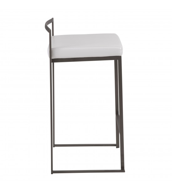 Lumisource B26-FUJI AN+W2 Fuji Industrial Stackable Counter Stool in Antique with White Faux Leather Cushion - Set of 2