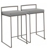 Lumisource B26-FUJI ANGY2 Fuji Industrial Stackable Counter Stool in Antique with Grey Faux Leather Cushion - Set of 2