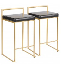 Lumisource B26-FUJI AU+BK2 Fuji Contemporary-Glam Counter Stool in Gold with Black Faux Leather - Set of 2