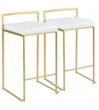 Lumisource B26-FUJI AU+W2 Fuji Contemporary-Glam Counter Stool in Gold with White Faux Leather - Set of 2