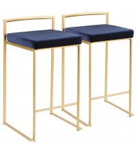 Lumisource B26-FUJI AUVBU2 Fuji Contemporary-Glam Stackable Counter Stool in Gold with Blue Velvet Cushion - Set of 2