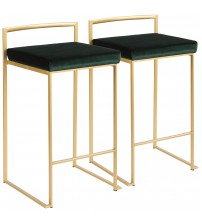 Lumisource B26-FUJI AUVGN2 Fuji Contemporary-Glam Stackable Counter Stool in Gold with Green Velvet Cushion - Set of 2