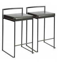 Lumisource B26-FUJI BK+BK2 Fuji Contemporary Stackable Counter Stool in Black with Black Faux Leather Cushion - Set of 2