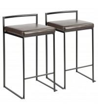 Lumisource B26-FUJI BK+BN2 Fuji Contemporary Stackable Counter Stool in Black with Brown Faux Leather Cushion - Set of 2