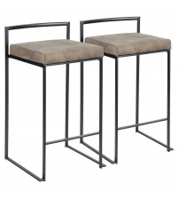Lumisource B26-FUJI BKFBN2 Fuji Contemporary Stackable Counter Stool in Black with Brown Cowboy Fabric Cushion - Set of 2
