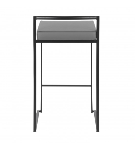 Lumisource B26-FUJI BKGY2 Fuji Contemporary Stackable Counter Stool in Black with Grey Faux Leather Cushion - Set of 2
