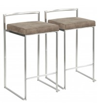 Lumisource B26-FUJI FBN2 Fuji Contemporary Stackable Counter Stool in Stainless Steel with Brown Cowboy Fabric Cushion - Set of 2