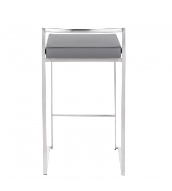 Lumisource B26-FUJI GY2 Fuji Contemporary Stackable Counter Stool in Stainless Steel with Grey Faux Leather Cushion - Set of 2