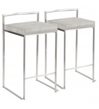 Lumisource B26-FUJI LGY2 Fuji Contemporary Stackable Counter Stool in Stainless Steel with Light Grey Cowboy Fabric Cushion - Set of 2
