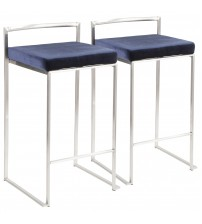 Lumisource B26-FUJI VBU2 Fuji Contemporary Stackable Counter Stool in Stainless Steel with Blue Velvet Cushion - Set of 2