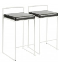 Lumisource B26-FUJI W+BK2 Fuji Contemporary Stackable Counter Stool in White with Black Faux Leather Cushion - Set of 2