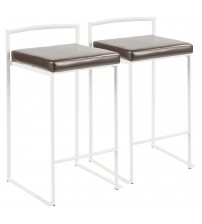 Lumisource B26-FUJI W+BN2 Fuji Contemporary Stackable Counter Stool in White with Brown Faux Leather Cushion - Set of 2