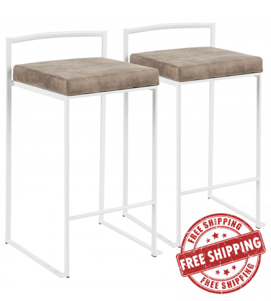 Lumisource B26-FUJI W+FBN2 Fuji Contemporary Stackable Counter Stool in White with Brown Cowboy Fabric Cushion - Set of 2
