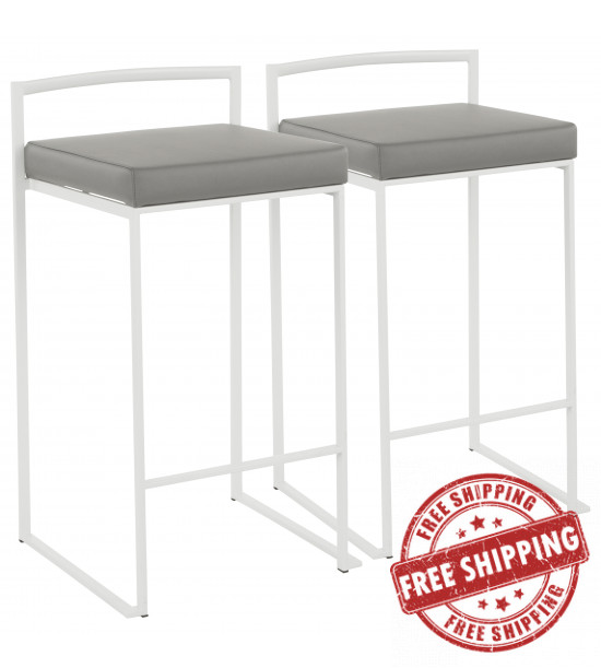 Lumisource B26-FUJI W+GY2 Fuji Contemporary Stackable Counter Stool in White with Grey Faux Leather Cushion - Set of 2