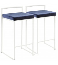 Lumisource B26-FUJI W+VBU2 Fuji Contemporary Stackable Counter Stool in White with Blue Velvet Cushion - Set of 2