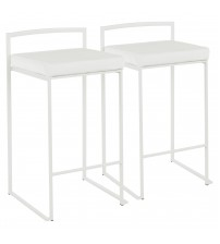 Lumisource B26-FUJI W+VW2 Fuji Contemporary Stackable Counter Stool in White with White Velvet Cushion - Set of 2