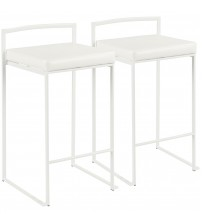 Lumisource B26-FUJI W+W2 Fuji Contemporary Stackable Counter Stool in White with White Faux Leather Cushion - Set of 2